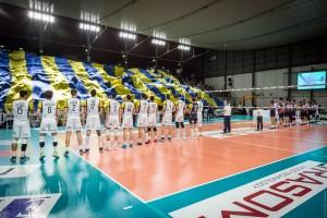 le due squadre in campo (Monini Marconi e Gas Sales Piacenza)