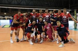 I Giocatori di Piacenza esultano a fine partita